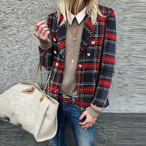 Casual Fold Collar Double-Breasted Plaid Ladies Suit
