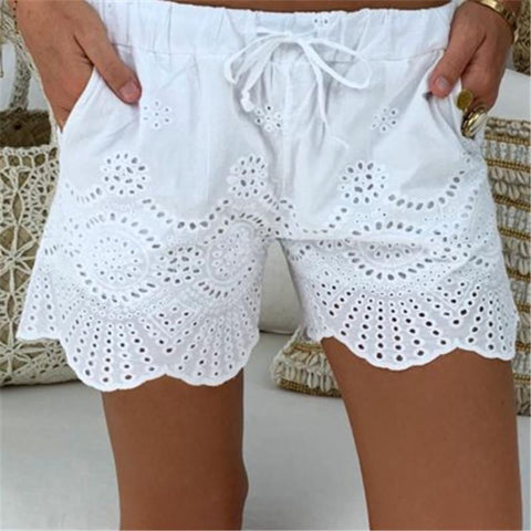 Casual Elastic Waist Drawstring Hollow Pattern Short Pant