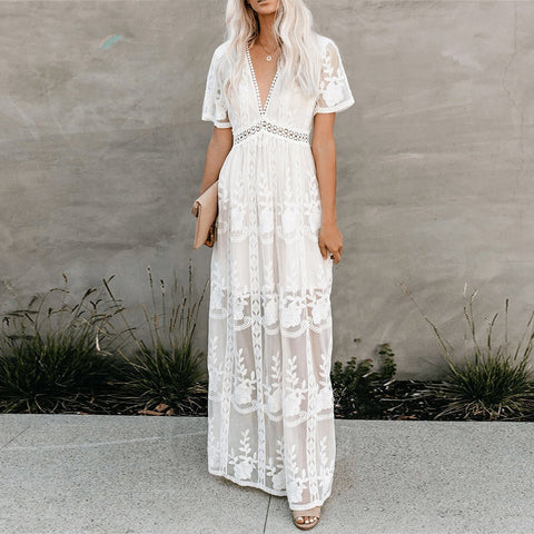 Fashion Casual Lace See-Through V Neck Short Sleeves Maxi Dress