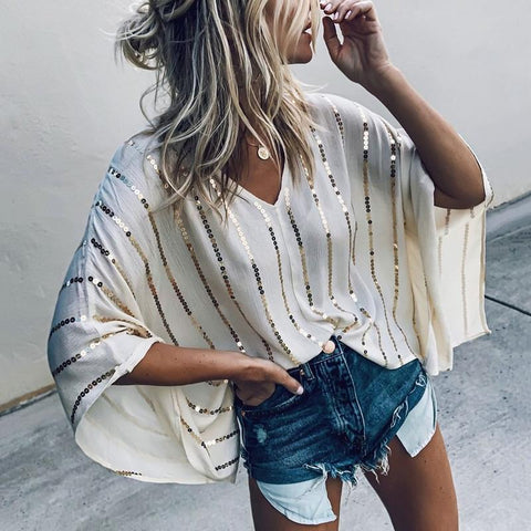 Women's Fashion V-Neck Paillette Kimono Sleeve Loose Blouse