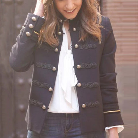 Classic Double-Breasted Long Sleeves Buckle Jacket