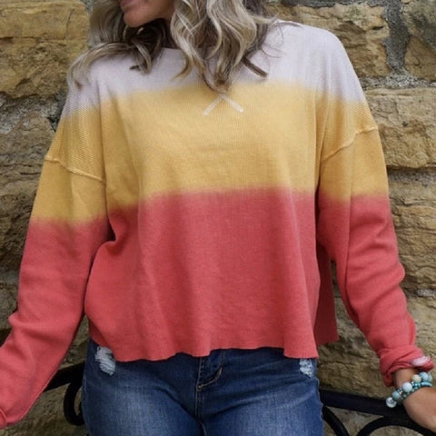 Casual Round Neck Colouring Long Sleeve Loose Sweater