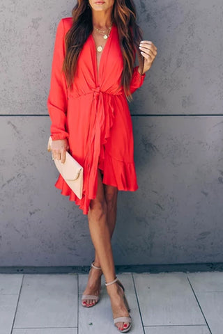 Sexy V Neck Pure Colour Belted Casual Dress