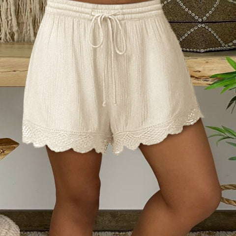 Casual solid color lace drawstring shorts