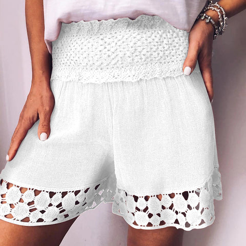 Casual Pure Colour Falbala Hollow Out Elastic Waist Shorts