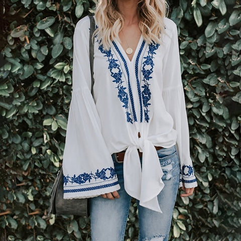 Casual V-Neck Printed Trumpet Sleeves Long-Sleeved Lace-Up Shirt