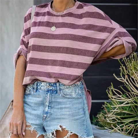 New Round Neck Striped Loose Top