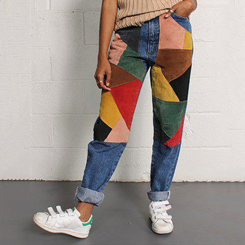 Casual Geometric Loose Jeans