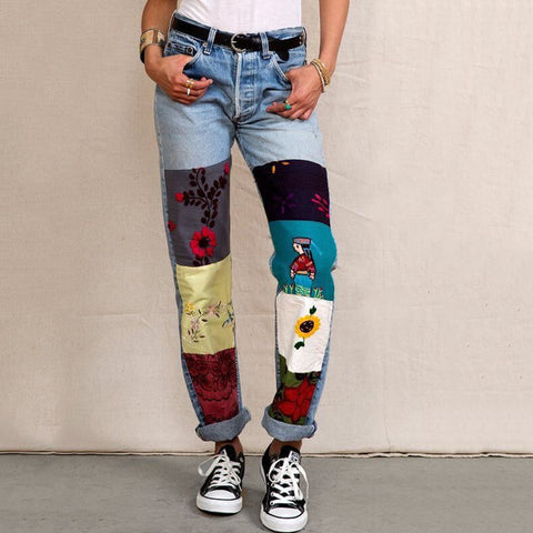 Fashion Cartoon Printed Colour Jeans