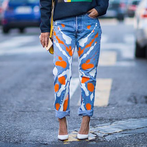 Fashion Printed Colour Jeans
