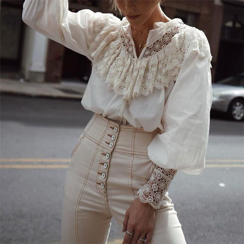 Casual Lace V Neck Patchwork Shirt