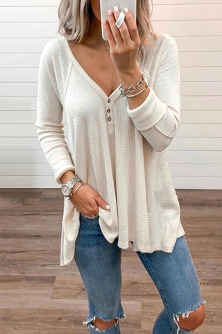 Brief Pure Color Long Sleeve V Neck Shirt