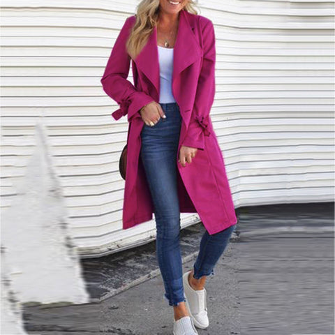 Classic Solid Long-Sleeved Lace-Up Coat