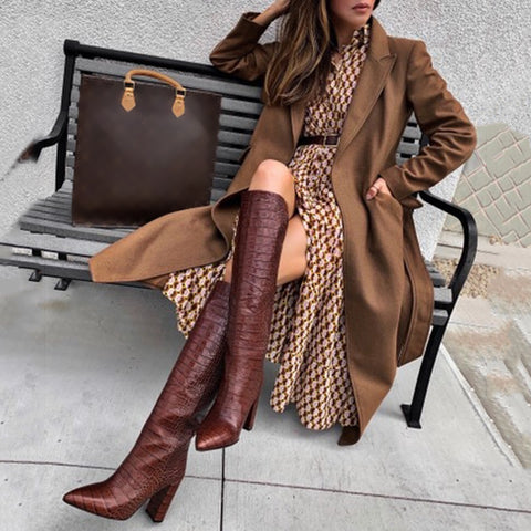 Women's Vintage Pure Color Long Sleeve Turndown Collar Overcoat