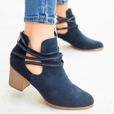 Women's fashion solid color bandage ankle boots
