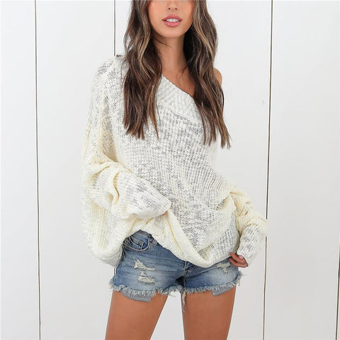 Casual Solid Color Off-the-shoulder Loose Sweater