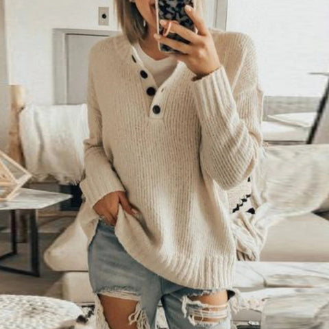 Simple Casual Solid Color Single Row Button Long Sleeve Knit Top