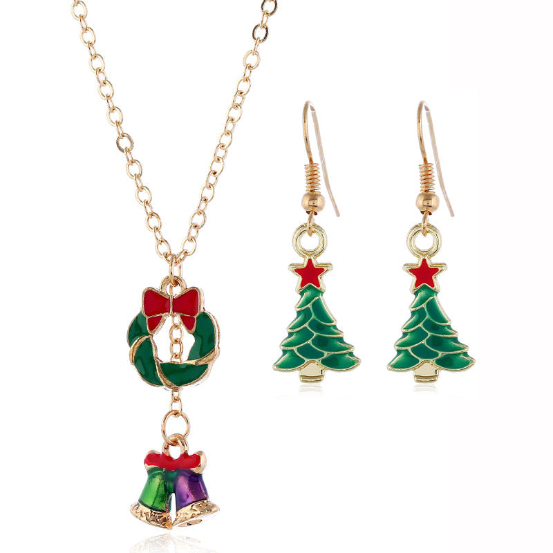 Christmas Tree Wreath Bell Necklace Earrings Set