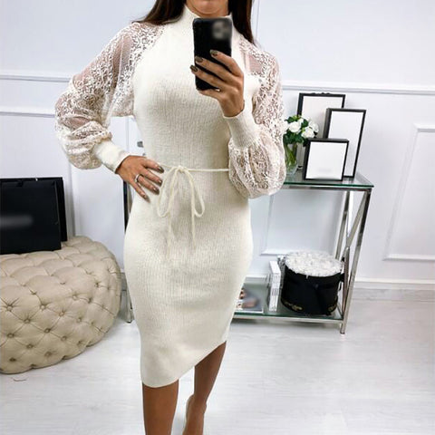 Women's Lace Embroidered Mesh Slim Fit Hip Dress