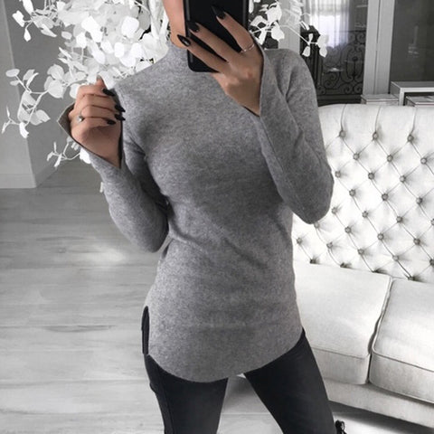 Women's Casual Pure Color Stand Collar Long Sleeve T-Shirt
