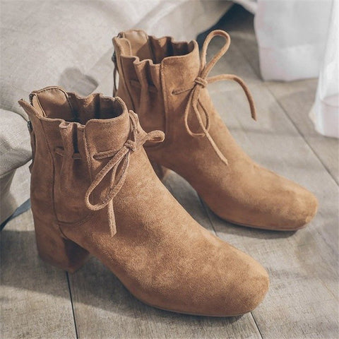 Retro ladies bowknot square-toed thick heel ankle boots