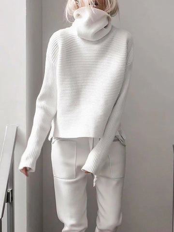 Casual Solid Color High Collar Long Sleeve Sweater