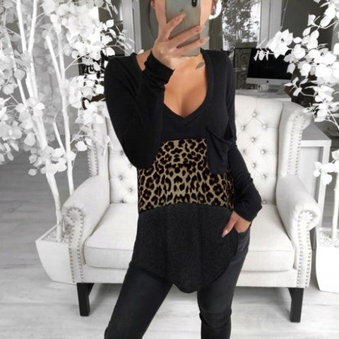 Casual Leopard Stitching Patch Pocket Loose Long Sleeve Top