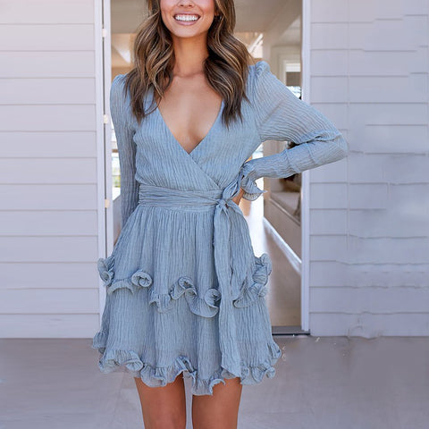 Elegant Wrap Deep V Ruffled Belted Dress