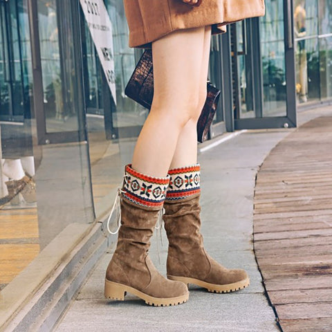 Vintage Printed Patcwork Mid Heel Chunky Boots