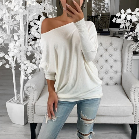 Fashion one shoulder solid color women's long-sleeved T-shirt