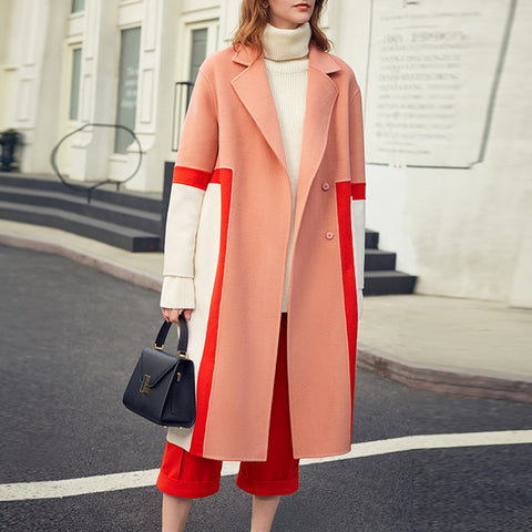 Fashion Color matching A Lapel Women's Overcoat