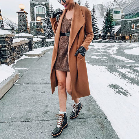 Fashion Womens Pure Color Lapel Coat