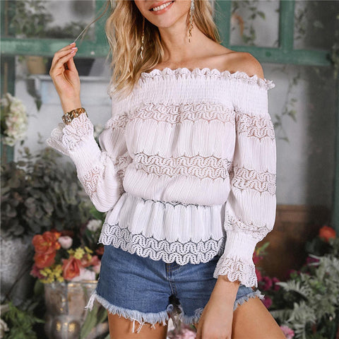 Fashion Smocked Off-the-shoulder Long-sleeved Lace Shirt