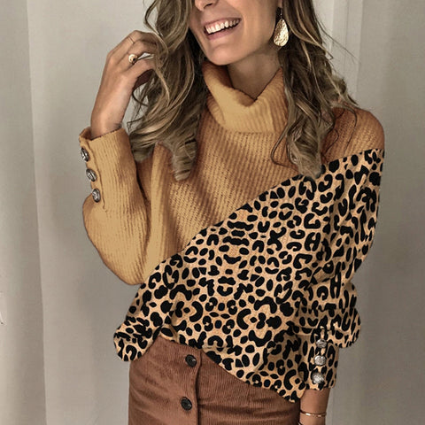 Fashion leopard colorblock turtleneck sweater