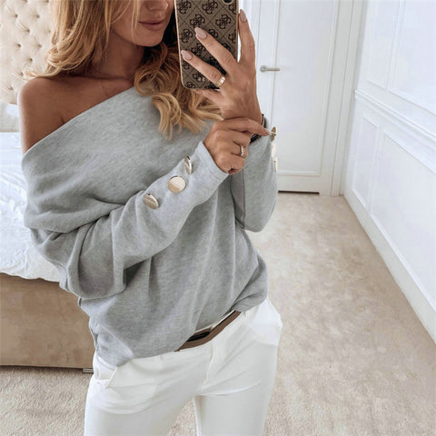 Sexy fashion solid color collar long sleeve shirt
