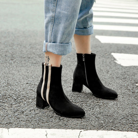 Women's fashion color matching suede high heel boots