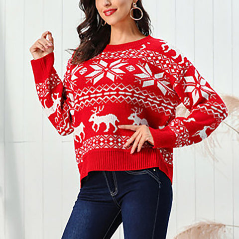 Round Toe Women Casual Snowflake Sweater