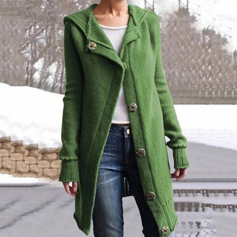 Oversized Hooded Knit Women's Sweater Coat