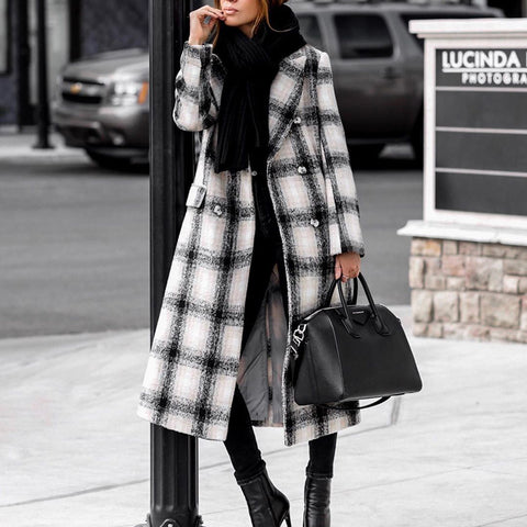Fashion Plaid Double Breasted Coat