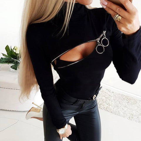 Stylish Turtleneck Chest Zip Long Sleeve Slim T-Shirt