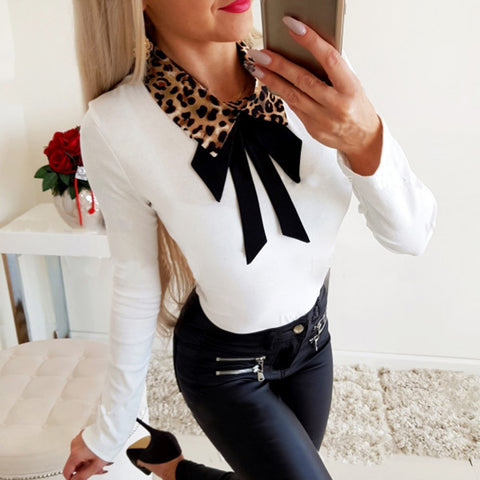 Women's Casual Leopard Turndown Collar Long Sleeve T-Shirt