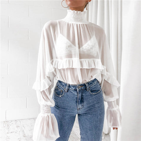 Sexy Women High Neck Chiffon Long Sleeve Lace Stitching Shirt