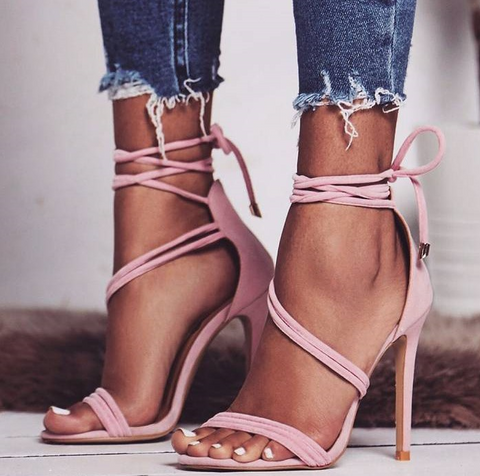 Solid color suede straps sexy high heel sandals