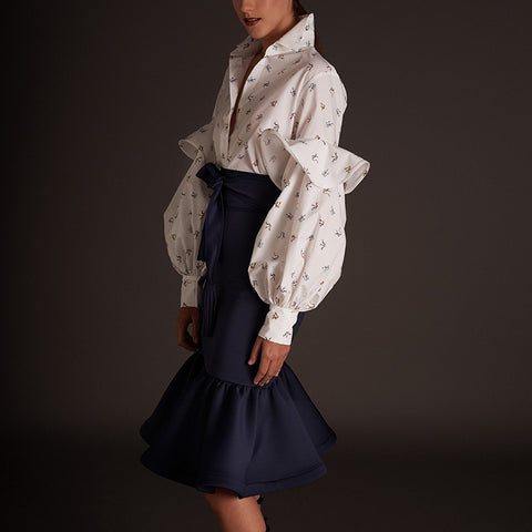 Fashion ruffled printed long lantern sleeves shirt
