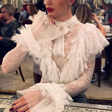 Fashion Belted See-through Petal Sleeve Splicing Lace Formal Blouse