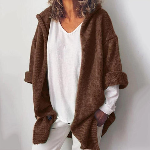 Women's solid color casual warm hooded cardigan