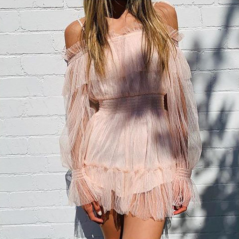 Fashion Lace Off-the-shoulder Waist Mesh Dress