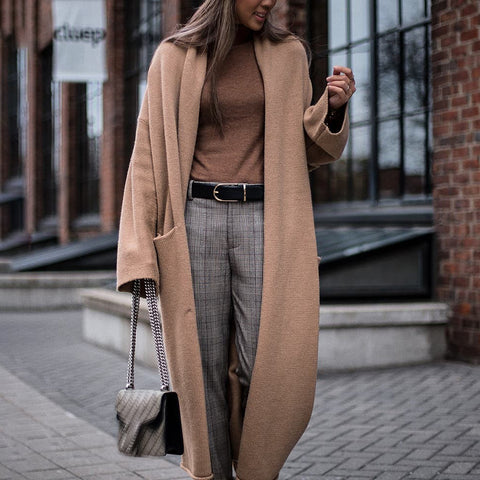 Casual solid color long sweater cardigan