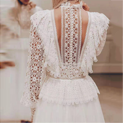Fashion openwork lace blouse