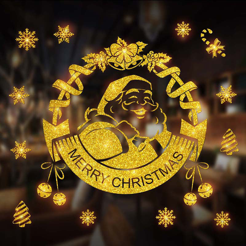 Golden Christmas elements window decoration glass sticker